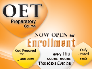 OET Preparatory Course. Now Open for enrollment!